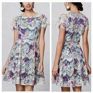 Anthropologie Hunter Dixon Laceprint Flaired Dress